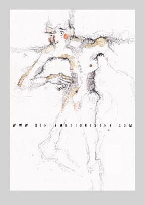 """Serie """"Mute 1"""" -  2015, Graphit, Gold und Aquarell auf Zeichenpapier, 20 x 30 cm, Kaufpreis 200,-"""
