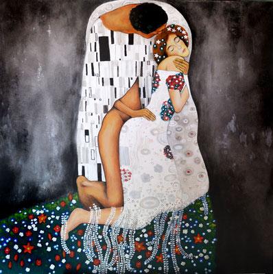 """""""Der Fick"""" -  2013, Acryl uns Silber auf Leinen, 100 x 100 cm, Kaufpreis 4000,-"""