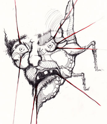 """""""Bondage"""" -  2013, Acryl und Tusche auf Papier, 25 x 30 cm, Kaufpreis 80,-"""