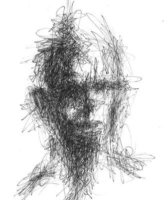 """Serie """"Black Faces 1"""" -  2014, Tusche auf Zeichenpapier, 18 x 14 cm, Kaufpreis 100,- (mit Rahmen)"""
