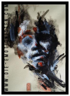 """Serie """"Faces 1"""", Acryl auf Zeichenpapier, 30x40cm, Kaufpreis 250,- / gesamte Serie: 600,- (3 Werke)"""
