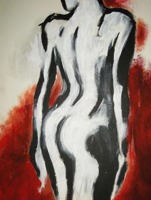 """""""Akt 1"""" -  2012, Acryl auf Leinen, 30 x 40 cm, Kaufpreis 200,-"""
