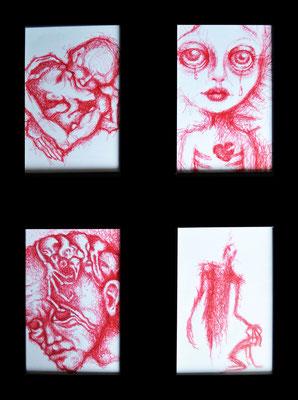 "Serie ""Red"" - 2014, 14x18 cm gerahmt, Kaufpreis je Bild 50,-"