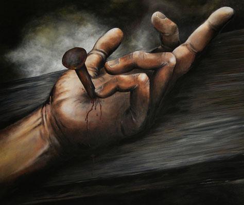"""""""Died for you"""" -  2013, Acryl, Holzspäne und Blut auf Leinen, 120 x 100 cm, Kaufpreis 3000,-"""