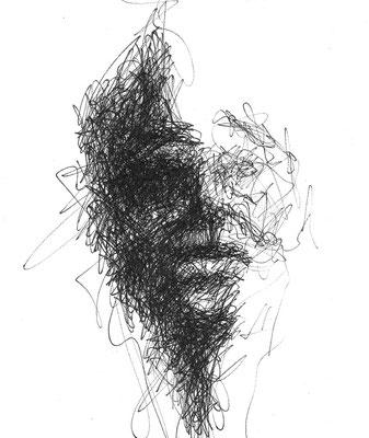 """Serie """"Black Faces 2"""" -  2014, Tusche auf Zeichenpapier, 18 x 14 cm, Kaufpreis 100,- (mit Rahmen)"""