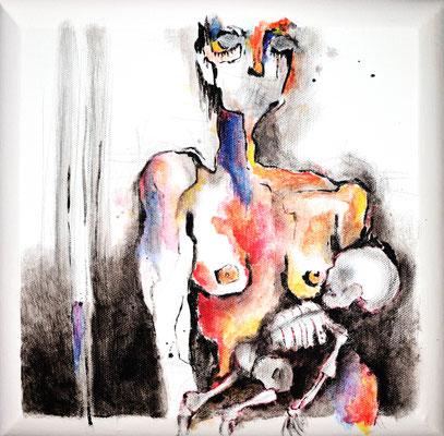"""Serie Angst """"Being woman"""" -  2013, Acryl auf Leinen, 30 x 30 cm, Kaufpreis gesamte Serie 1600,- (4Werke)"""