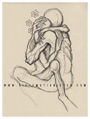 """""""innig"""" -  2014, Tusche und  Graphit auf Zeichenpapier, 30x40 cm, Kaufpreis 200,-"""
