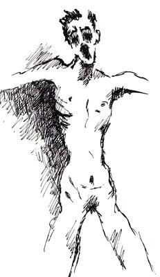 """""""Cry 2"""" -  2013, Tusche auf Zeichenpapier, 30 x 20 cm, Kaufpreis 150,-"""