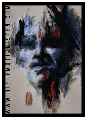 """Serie """"Faces 3"""", Acryl auf Zeichenpapier, 30x40cm, Kaufpreis 250,- / gesamte Serie: 600,- (3 Werke)"""