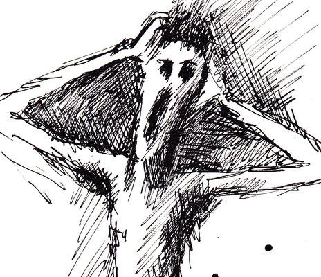 """""""Cry 1"""" -  2013, Tusche auf Zeichenpapier, 30 x 20 cm, Kaufpreis 150,-"""