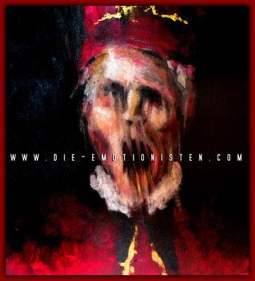 """""""Vicar in red & gold"""" -  2014, Acryl auf Leinen, 25 x 30 cm, Kaufpreis 600,-"""