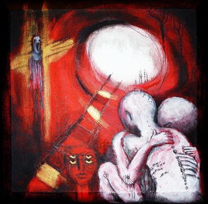 """Serie Angst """"Alone"""" -  2013, Acryl und Gold auf Leinen, 30 x 30 cm, Kaufpreis gesamte Serie 1600,- (4Werke)"""