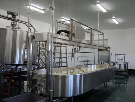 Une fois cuit, le Caillé est déversé dans un long bassin où il sera brassé puis égoutté (étape pour soutirer le lactosérum ou petit-lait)