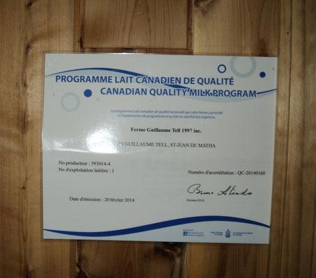 Programme Lait Canadien de Qualité. Crédit-photo: Claudette Morin