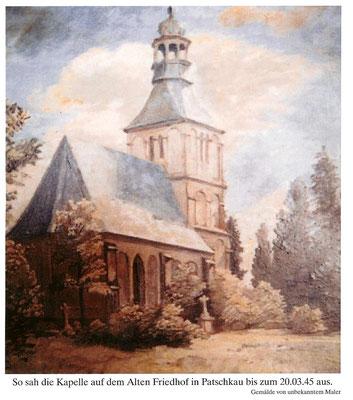Die Kapelle auf dem alten Friedhof, Gemälde von unkekanntem Maler