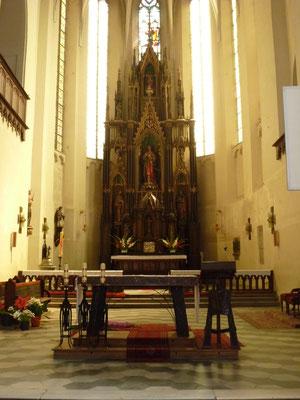 """St. Johannes-Kirche, Hauptaltar, Foto aus dem Buch """"Sakrale Denkmäler"""" von Henryk Romańczyk"""