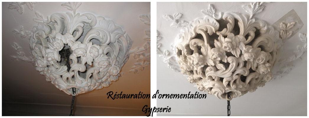Restauration de gypserie. rosace en plâtre