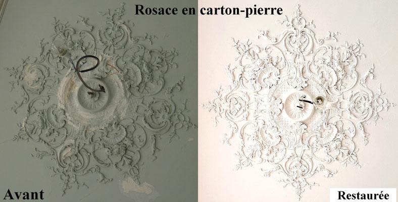 Restauration d'une rosace en carton-pierre
