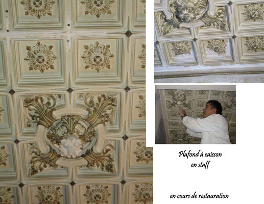 Restauration d'un plafond à caisson en staff