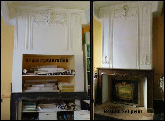 Restauration d'un trumeau de cheminée