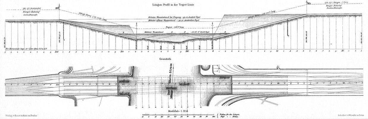 Längenprofil und Grundriss in der Trajektanstalt. Quelle: Zeitschrift für Bauwesen Bd.XVII (1867)