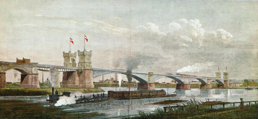Eisenbahnbrücke Hochfeld/Rheinhausen und Trajektanlage, Illustration nach einem Gemälde von Jakob Scheiner 1874