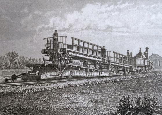 Güterwagen bei der Umsetzung auf die Trajektfähre. Quelle: Stadtarchiv Duisburg
