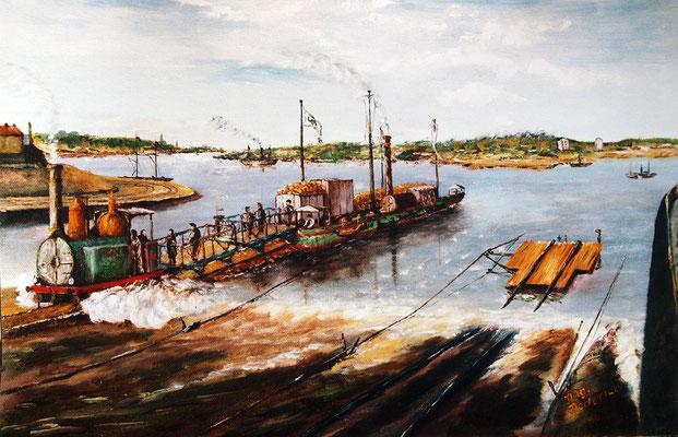 Ankunft eines Trajektschiffes im Trajekt-Bahnhof Hochfeld, Gemälde von August Dederichs 1866