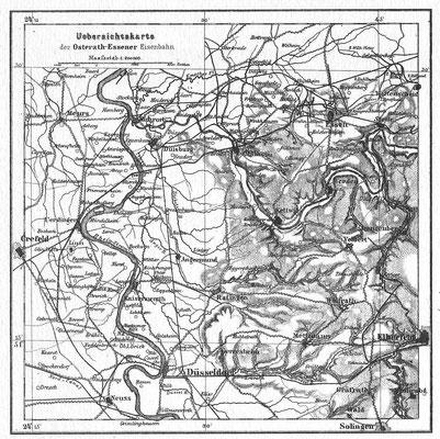 Übersichtskarte der Osterath-Essener Eisenbahnstrecke, der Rheinischen Bahngesellschaft.