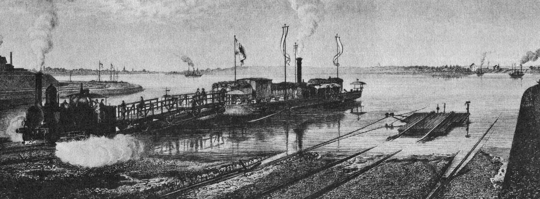 Ansicht der ganzen Trajektanstalt, Blick von Duisburg aus stromaufwärts gesehen, vor dem Bau der Eisenbahnbrücke Quelle: Zeitschrift für Bauwesen Bd VXII (1867)