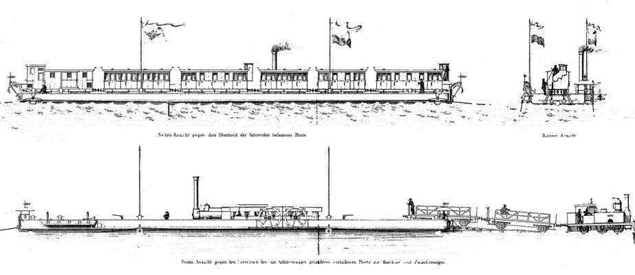 Seitenansichten von einer mit Personenwagen beladenen Ponte und eine Umsetzung von Güterwagen an der Anfahr-Rampe, Quelle: Zeitschrift für Bauwesen Bd. XVII(1867)