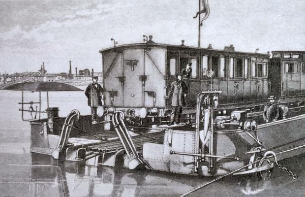 Personenwagen auf der Trajektfähre. Quelle: Stadtarchiv Duisburg