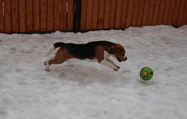 Деби гоняет мяч кругами по всей площадке