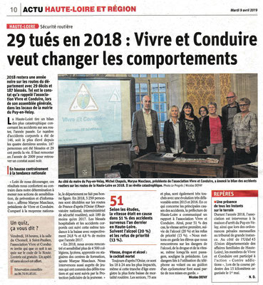 A.G. Article de La Tribune 5  avril 2019