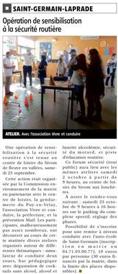 Centre de Loisirs - Saint Germain Laprade - 25 septembre & 2 octobre 2021