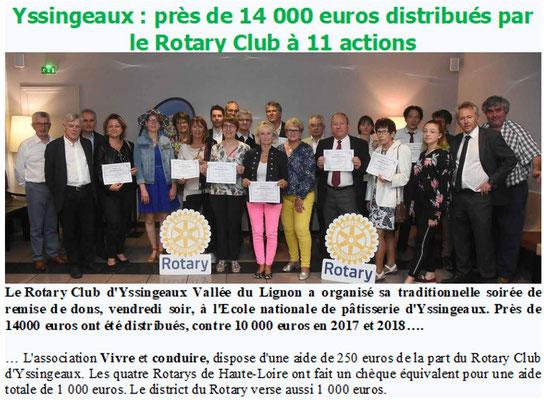 Le Rotary distribue ses aides aux Associations - Yssingeaux - le 21 juin 2019