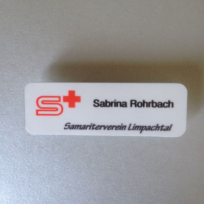 Druckatelier46 - Namensschild Samariterverein Limpachtal