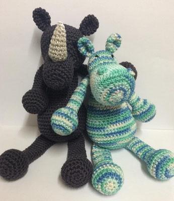 Amigurumi - Häkeltiere - Kuscheltiere Nashorn Toni & Nilpferd Hippo