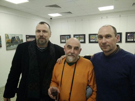 Mit den Künstlern Andrey Kuznetsov und Alexander Bushuev
