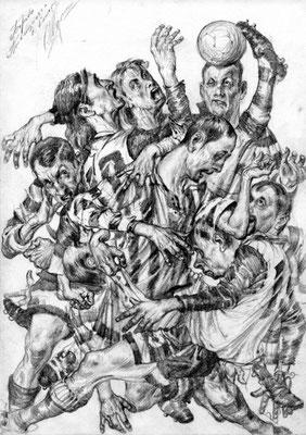 Schlacht um den Ball (Bleistift 20x30 2006)