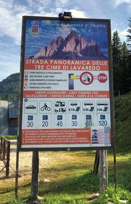 Drei Zinnen (Tre Cime di Lavaredo) - Mautstraße zur Auronzohütte