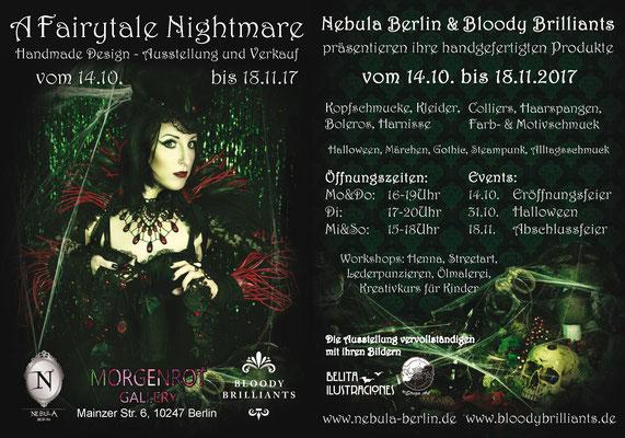 Fairytale Nightmare Pop up Store Flyer beidseitig von Bloody Brilliants und Nebula Berlin
