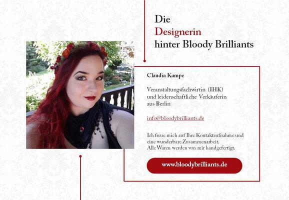 Kurzvorstellung für Märkte von Bloody Brilliants, Designerin