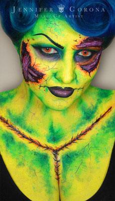 Neon Zombie Halloween Makeup