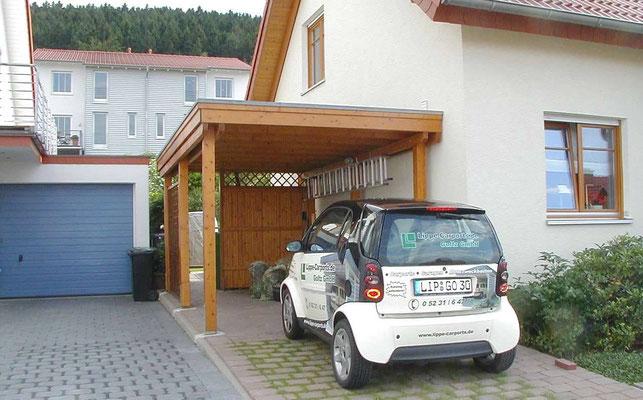 Beispiel-Nr. BR-19   BREMEN Individualcarport mit Farbanpassung an das Wohnhaus in altkiefer