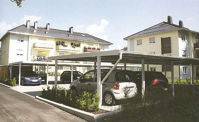 Beispiel-Nr. STRC!   2 Reihencarportanlagen gegenüberliegend gestellt mit jeweils 5 Stellplätzen an einer Wohnanlage