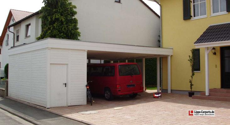 Beispiel-Nr. MGR-9    Doppelcarport MÜNCHEN GR hier als Hochcarport mit seitlicher Gerätekammer. Lichte Durchfahrthöhe auch für Bulli mit Dachgepäckträger machbar.