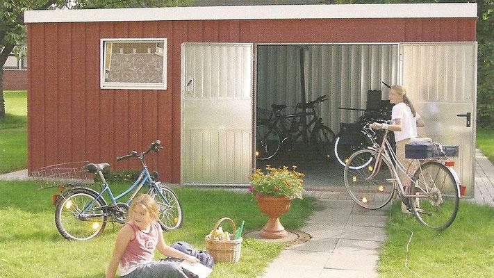 Beispiel Nr. 2R1     2-Rad Garage in PKW Garagengröße, Dekorputzwandausführung, Fenster und 2flg. Tür als Extra