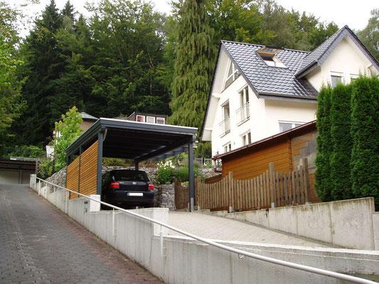 Beispiel-Nr. BR-3  BREMEN Individualcarport hier mit Farbgebung RAL 7016 anthrazitgrau
