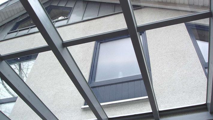 Beispiel Nr. GD14.3   Freie Sicht bis in den Himmel. Das Glasdach läßt viel Licht in das Carport und die darunter überdachten Fenster des Wohnhauses.